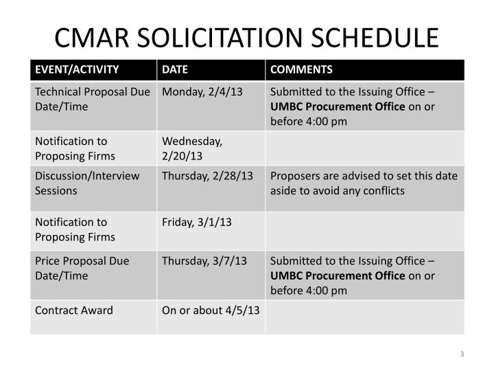 Cmar solicitation schedule