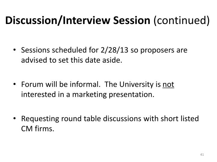 Discussion/Interview Session