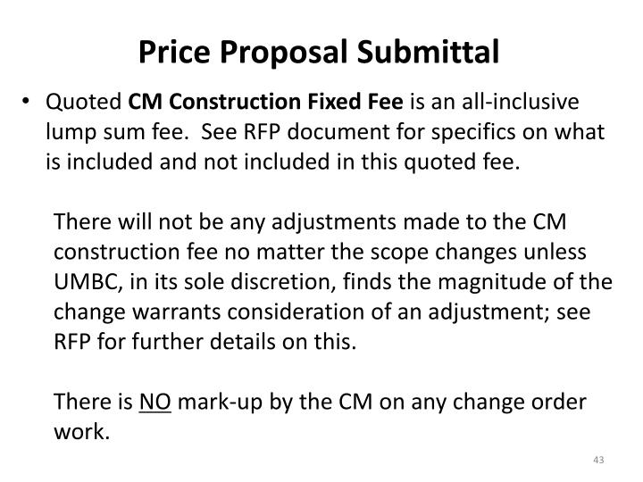 Price Proposal Submittal
