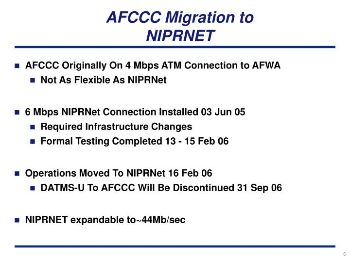 AFCCC Migration to NIPRNET