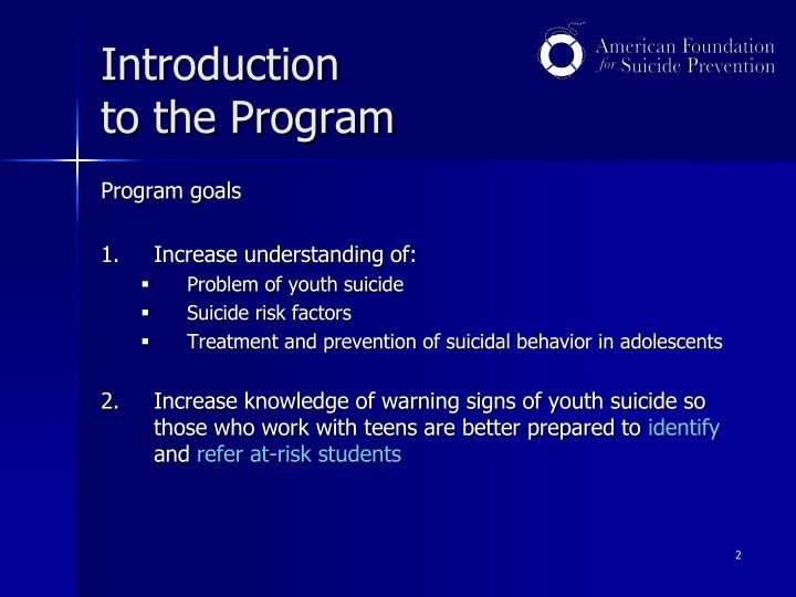 Introduction to the program
