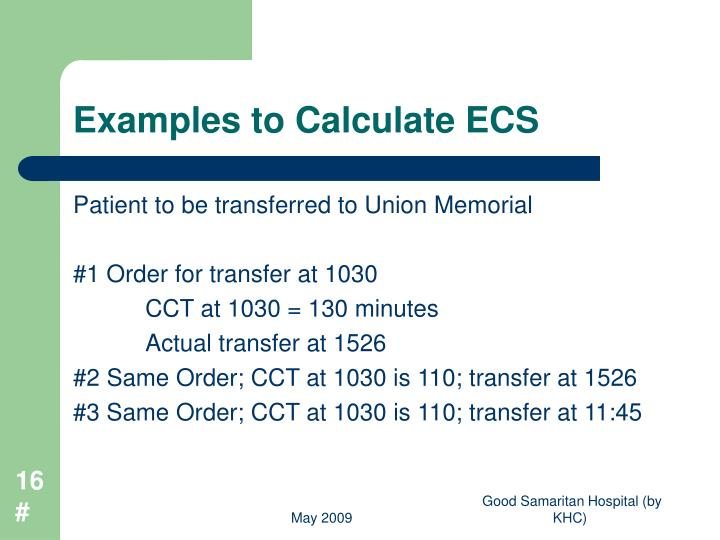 Examples to Calculate ECS