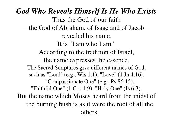 God Who Reveals Himself Is He Who Exists