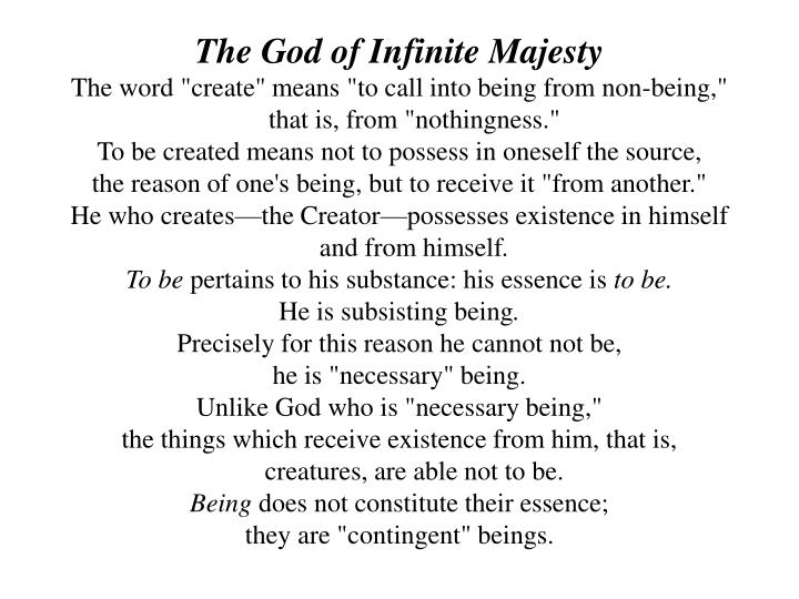 The God of Infinite Majesty