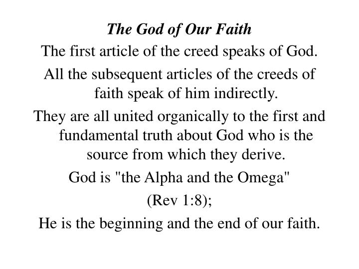 The god of our faith1
