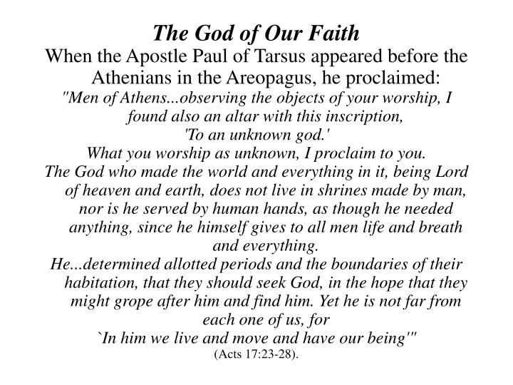 The God of Our Faith