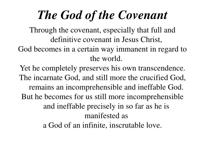 The God of the Covenant