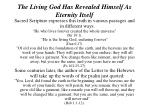 the living god has revealed himself as eternity itself3