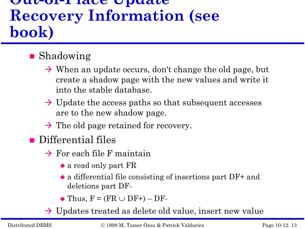 Out-of-Place Update Recovery Information (see book)
