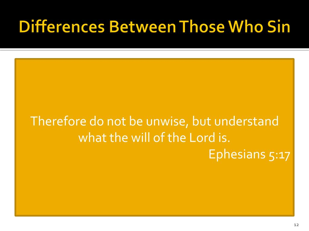 Differences Between Those Who Sin