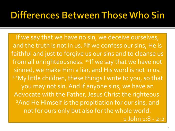 Differences between those who sin2