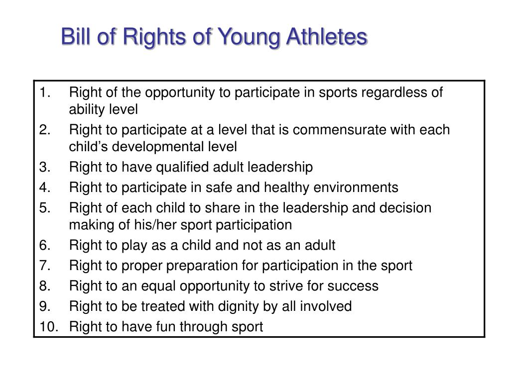 Bill of Rights of Young Athletes