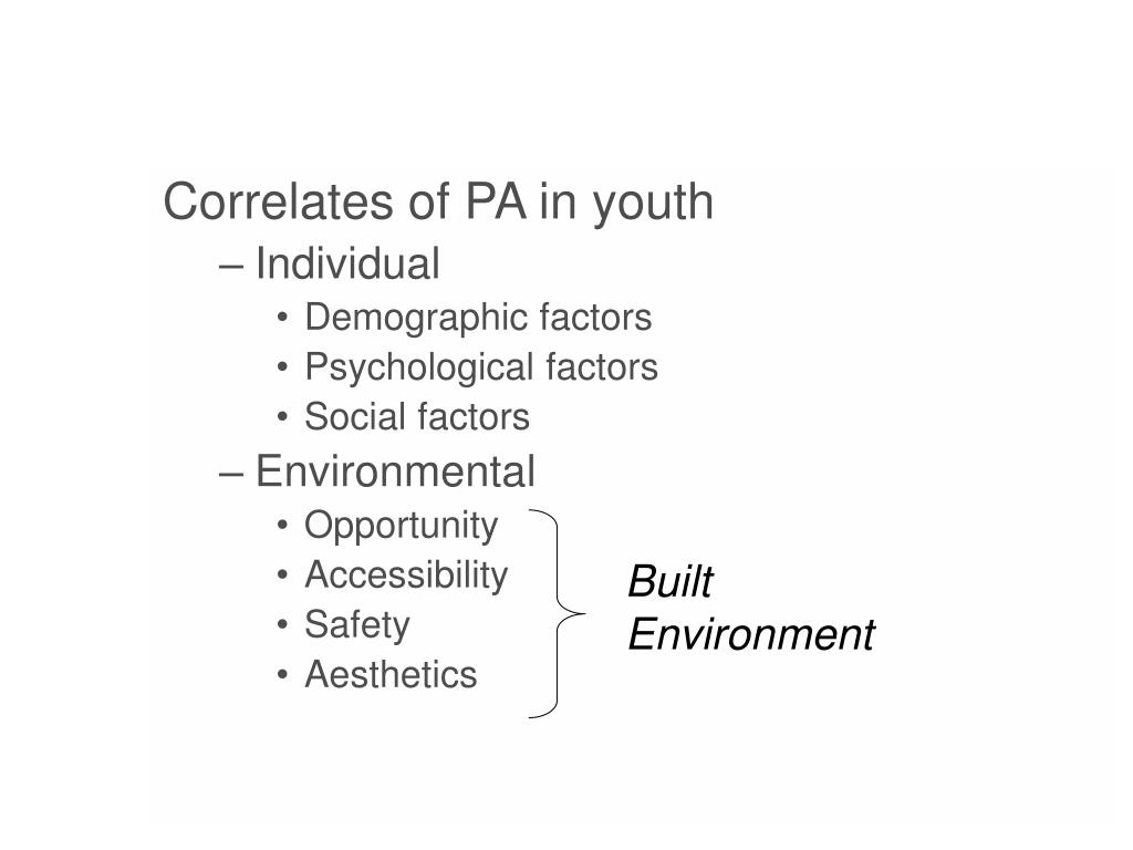 Correlates of PA in youth
