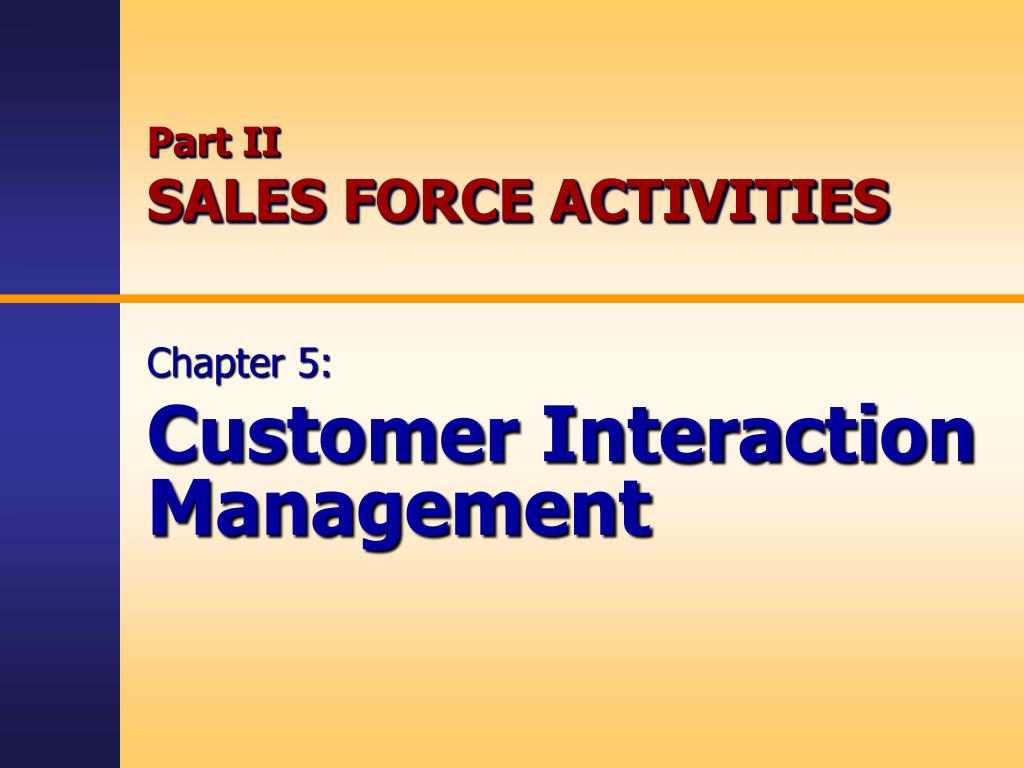 part ii sales force activities l.