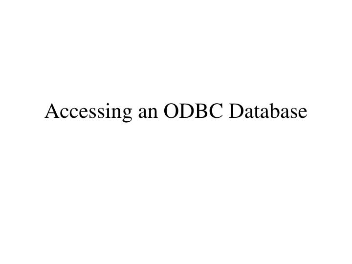 accessing an odbc database n.