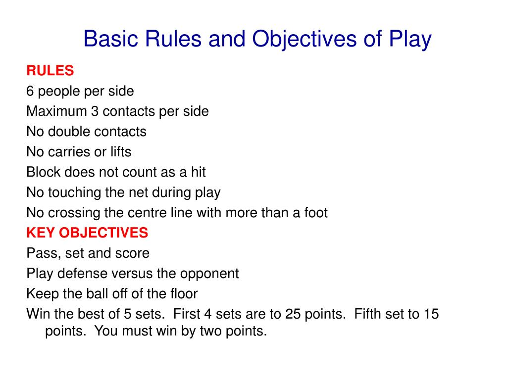 Basic Rules and Objectives of Play
