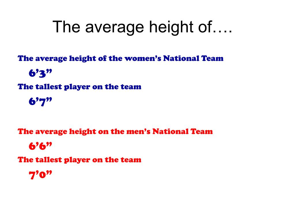 The average height of….