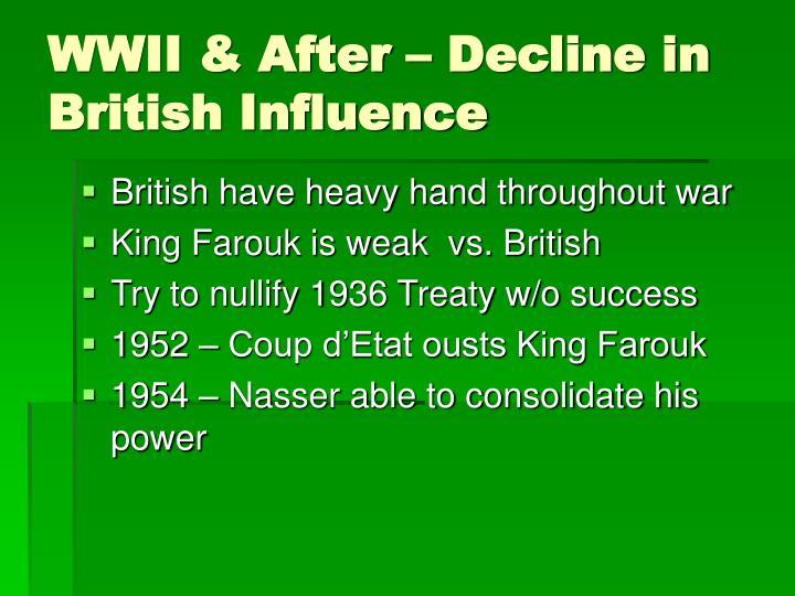 WWII & After – Decline in British Influence