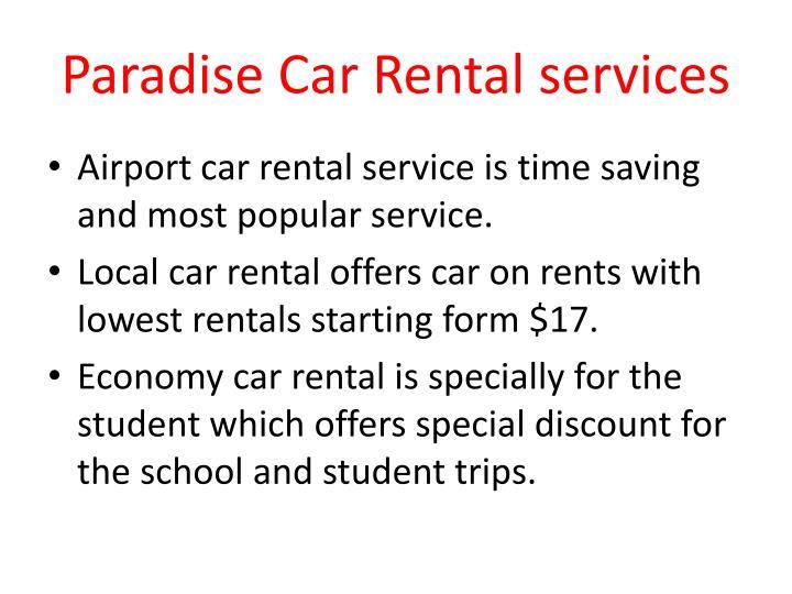 Paradise Car Rental services