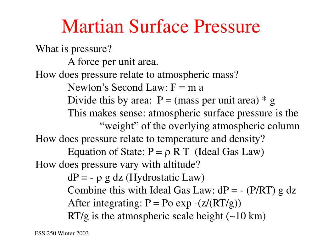 Martian Surface Pressure