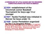 a chronology of little league and the organized competitive sports for youth in america 1