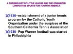 a chronology of little league and the organized competitive sports for youth in america