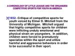 a chronology of little league and the organized competitive sports for youth in america12