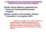 a chronology of little league and the organized competitive sports for youth in america20