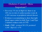 diabetes control how important