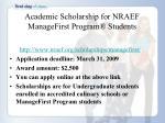 academic scholarship for nraef managefirst program students