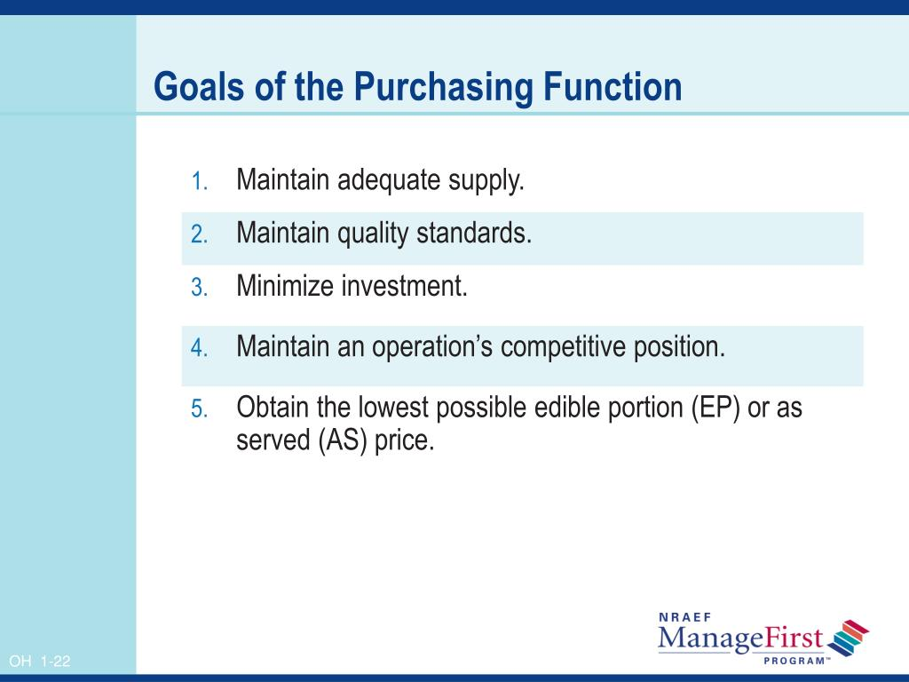 Goals of the Purchasing Function