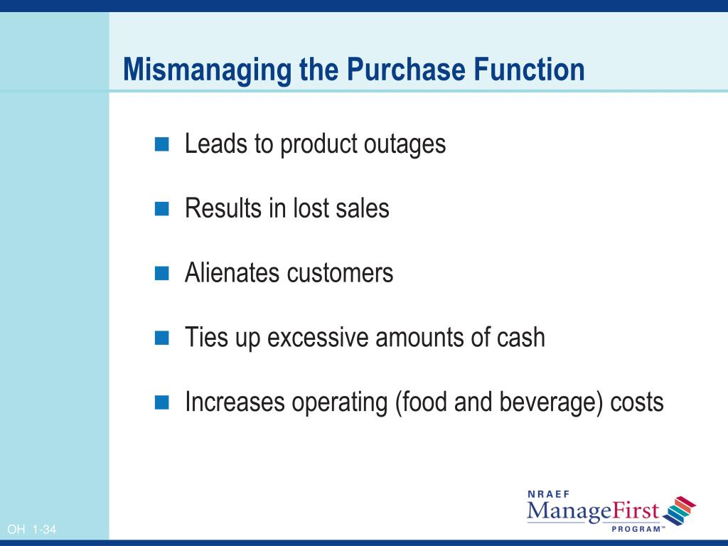 Mismanaging the Purchase Function