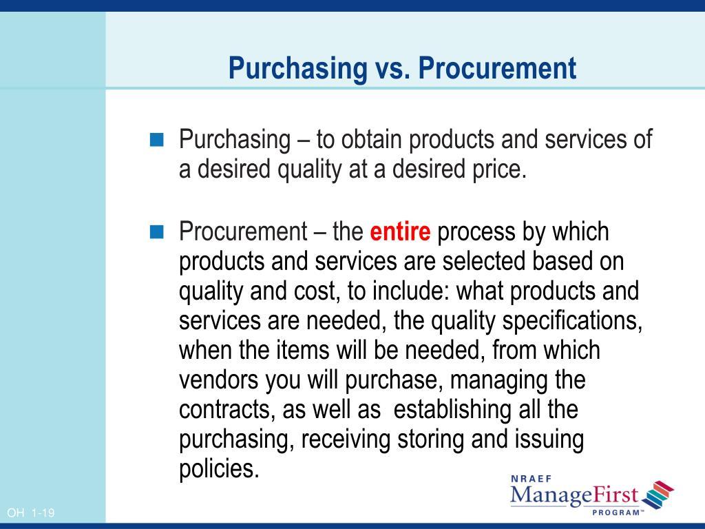 Purchasing vs. Procurement