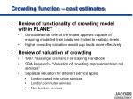 crowding function cost estimates