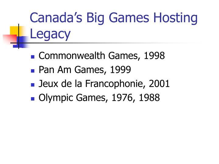 Canada s big games hosting legacy