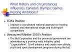 what history and circumstances influences canada s olympic games hosting ambitions
