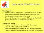 goals for the 2004 2005 season