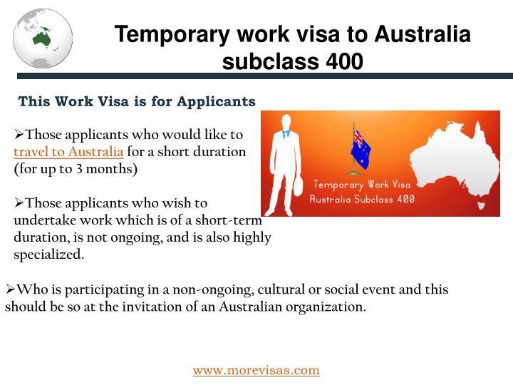 Temporary work visa to Australia subclass 400