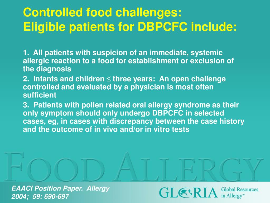 Controlled food challenges: