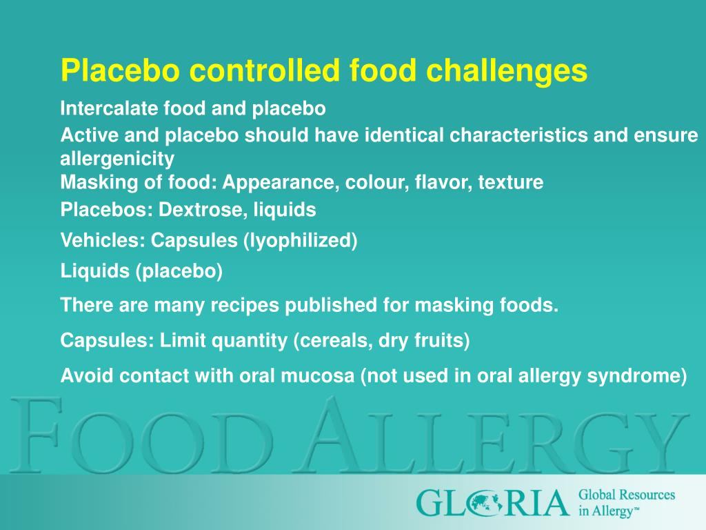 Placebo controlled food challenges