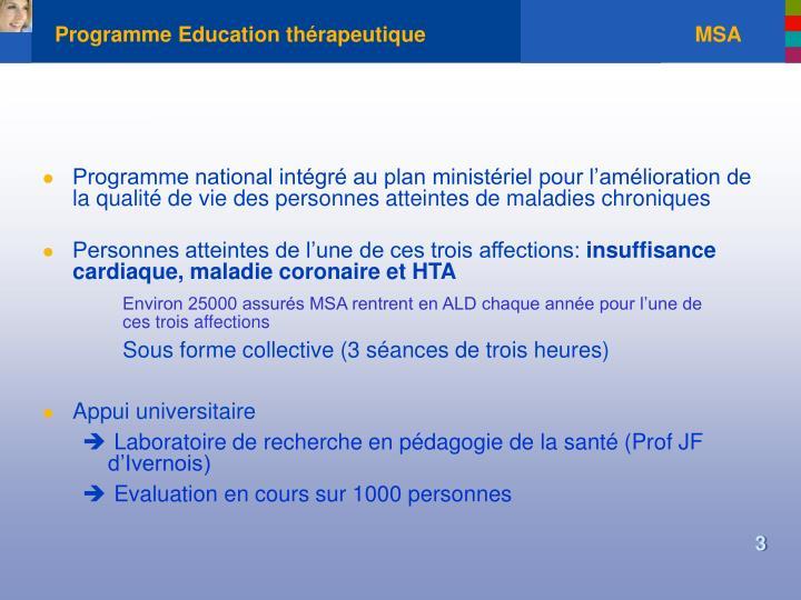 Programme education th rapeutique msa