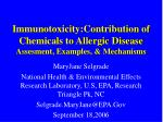 immunotoxicity contribution of chemicals to allergic disease assesment examples mechanisms