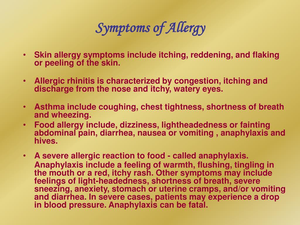 Symptoms of Allergy