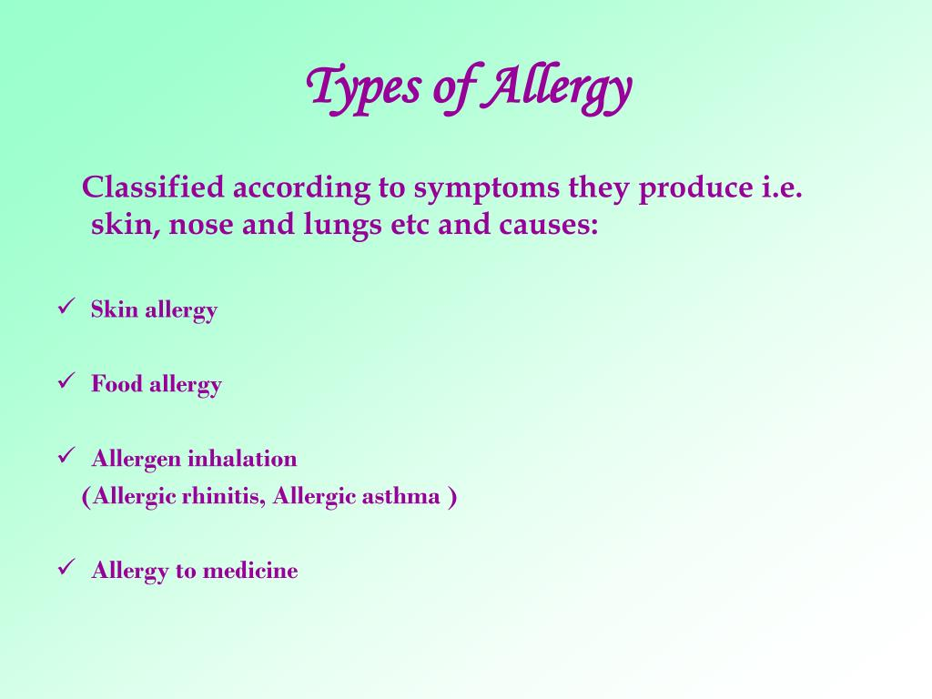 Types of Allergy