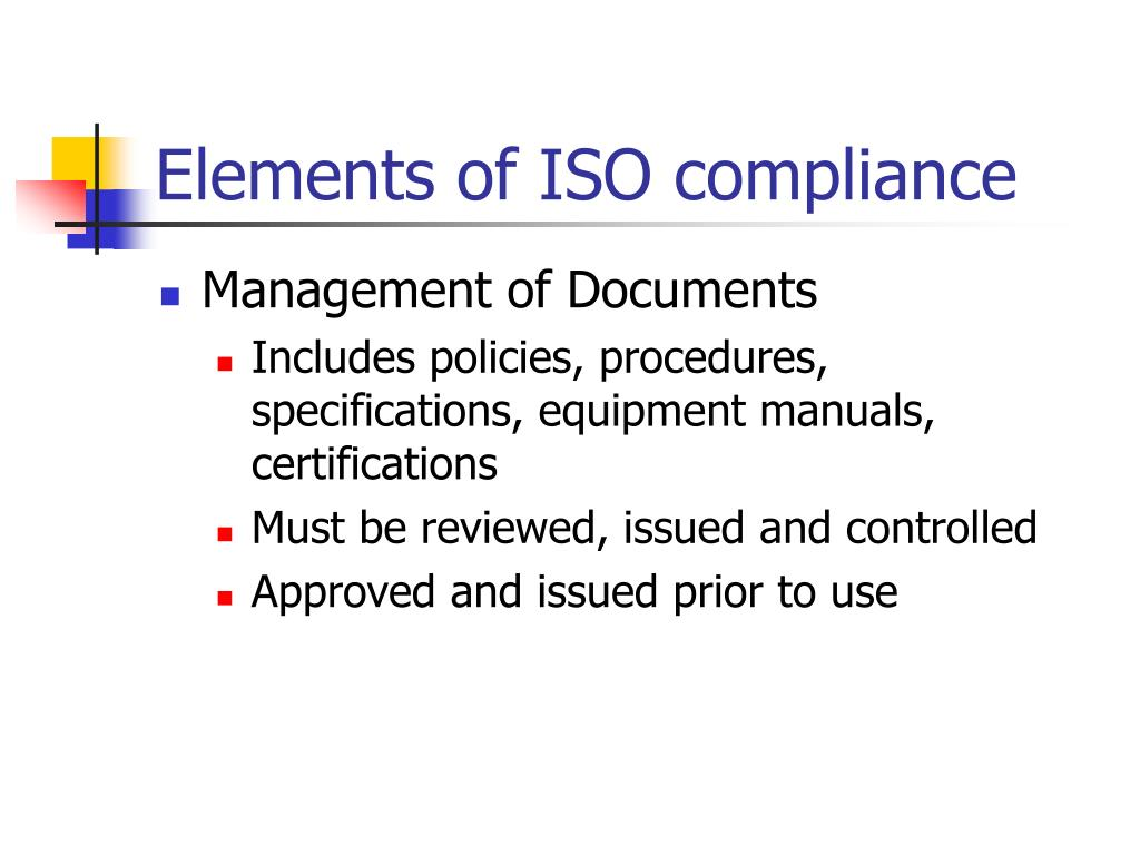 Elements of ISO compliance