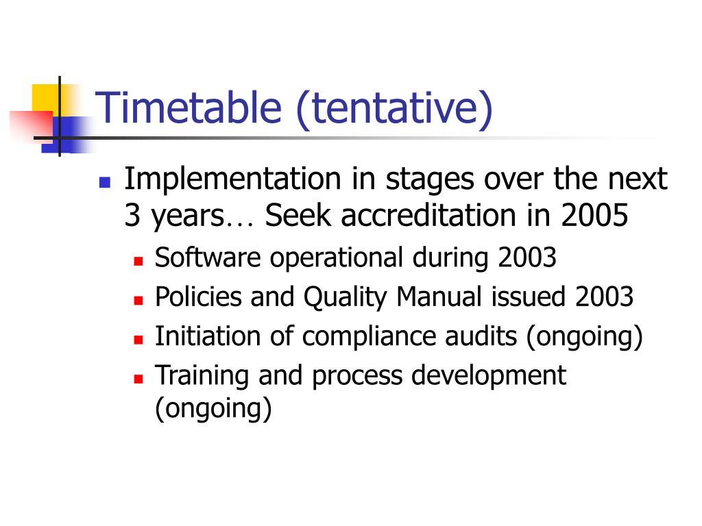 Timetable (tentative)