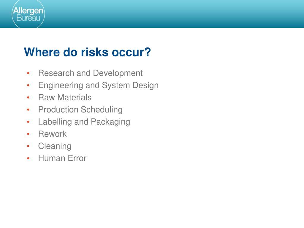 Where do risks occur?
