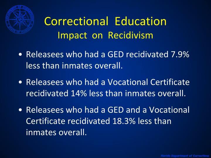 Correctional education impact on recidivism