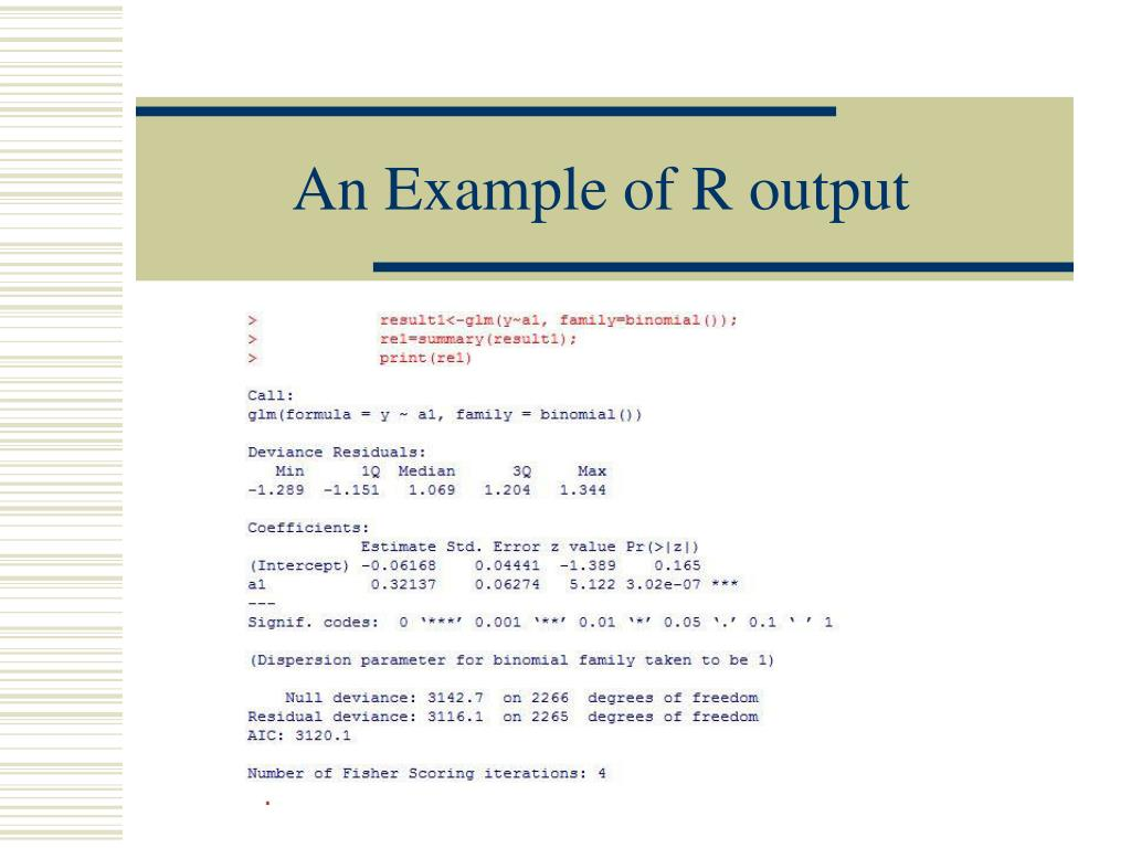 An Example of R output
