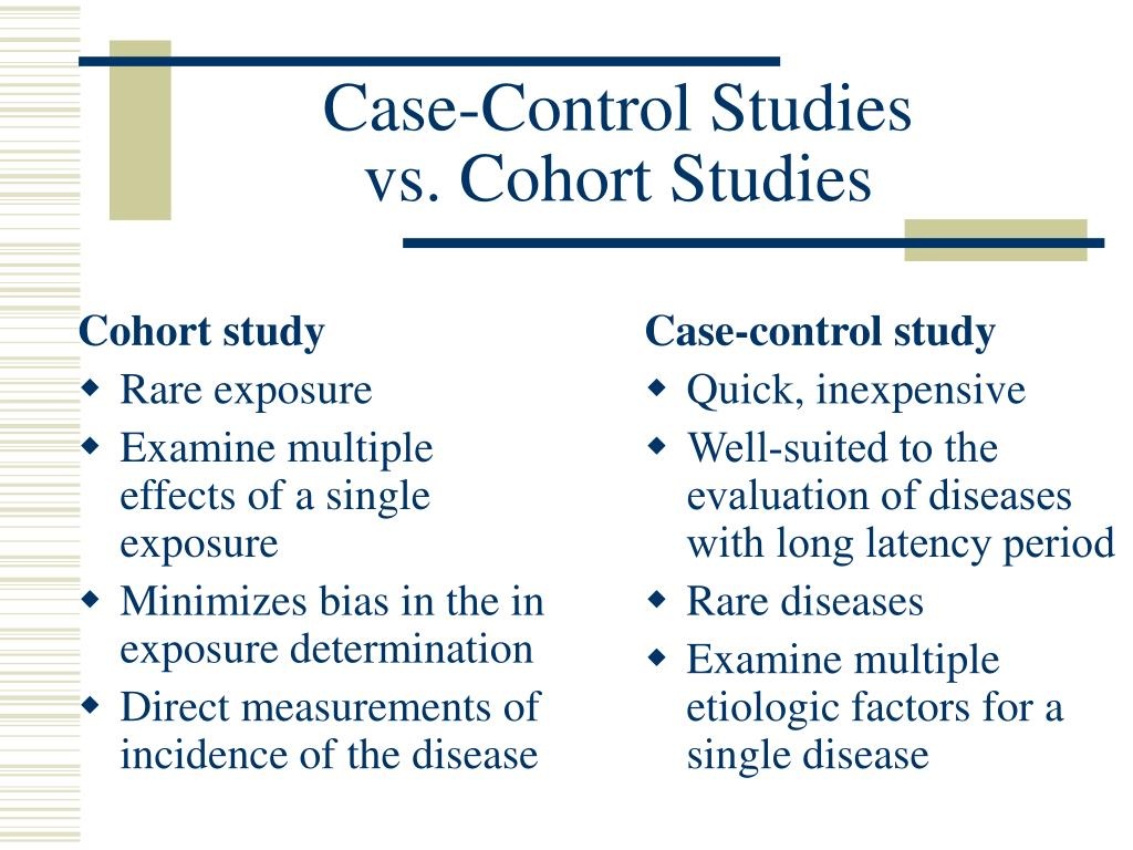 Case-Control Studies vs. Cohort Studies